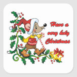 Holy Mousie Christmas Square Sticker