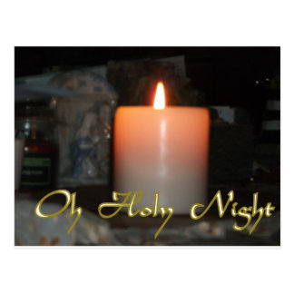 Holy Night Holiday Candle Postcard
