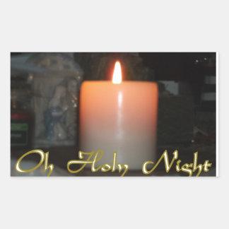 Holy Night Holiday Candle Rectangular Sticker