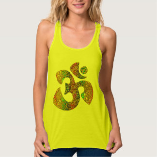 Holy OM - Ornament gold colored + your ideas Flowy Racerback Tank Top