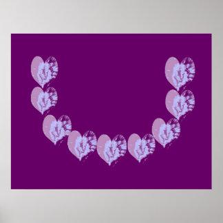 Holy Purple Sensual Heart Garland Poster