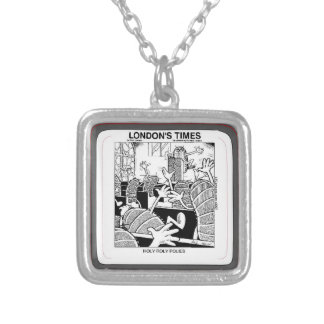 Holy Roly Polies Funny Square Pendant Necklace