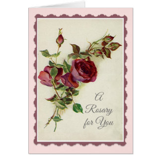 Holy Rosary with Red Rose Prayer Card