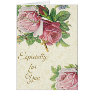 Holy Rosary with Roses Crucifix Lace Card