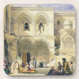 Holy Sepulchre, in Jerusalem (colour litho) Beverage Coaster