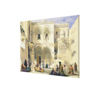 Holy Sepulchre, in Jerusalem (colour litho) Canvas Print