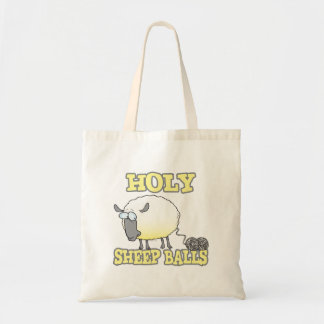 holy sheep balls funny unraveling yarn sheep tote bags