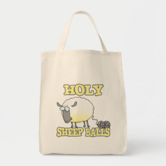 holy sheep balls funny unraveling yarn sheep canvas bag