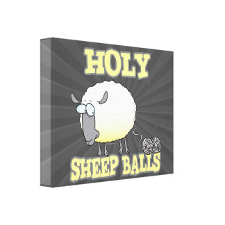 holy sheep balls funny unraveling yarn sheep canvas print