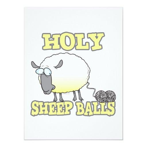 holy sheep balls funny unraveling yarn sheep custom announcements