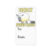 holy sheep balls funny unraveling yarn sheep label