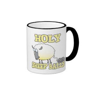 holy sheep balls funny unraveling yarn sheep ringer coffee mug