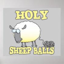 holy sheep balls funny unraveling yarn sheep poster