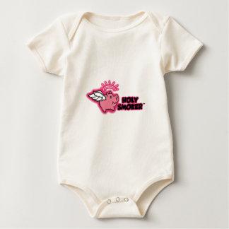 holy smoker logo pink tif baby bodysuit