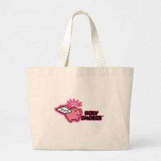 holy smoker logo pink tif jumbo tote bag