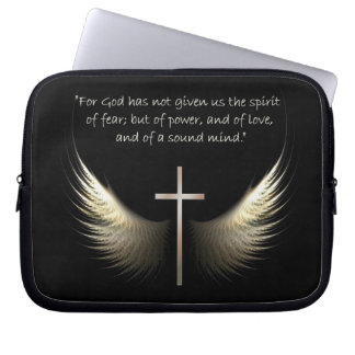 Holy Spirit and Christian Cross with Bible Verse Laptop Sleeve