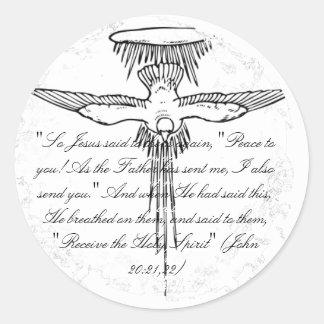 Holy Spirit Distressed 2 Round Stickers