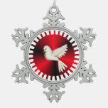 Holy Spirit Dove Snowflake Pewter Christmas Ornament