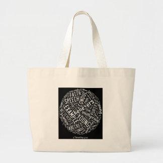 Holy Spirit Gear - Black circle white text Tote Bags