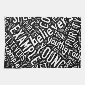 Holy Spirit Gear - Black circle white text Hand Towels
