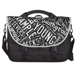 Holy Spirit Gear - Black circle white text Laptop Bag