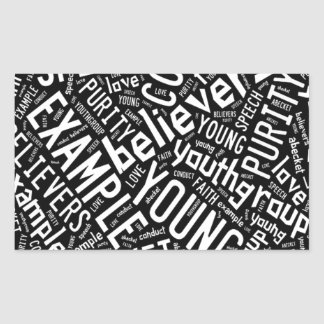 Holy Spirit Gear - Black circle white text Rectangular Sticker