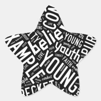 Holy Spirit Gear - Black circle white text Star Sticker