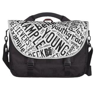 Holy Spirit Gear - white circle black text Computer Bag
