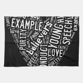 Holy Spirit Gear - White heart with black text Hand Towel