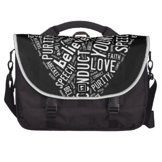Holy Spirit Gear - White heart with black text Laptop Commuter Bag