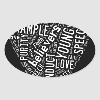 Holy Spirit Gear - White heart with black text Oval Sticker