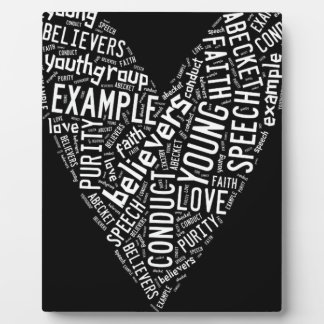 Holy Spirit Gear - White heart with black text Display Plaque