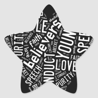 Holy Spirit Gear - White heart with black text Star Sticker