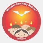 Holy Spirit Pentecost Round Sticker