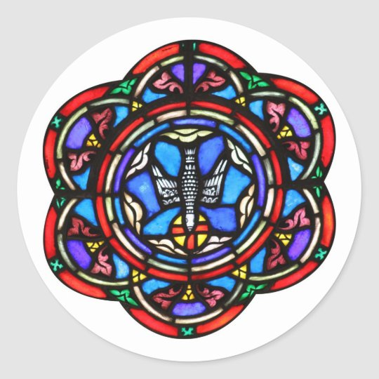 Holy Spirit Stained Glass Ar Classic Round Sticker
