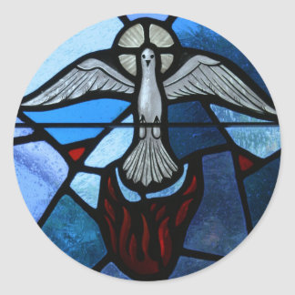 Holy Spirit Stained Glass Art Round Stickers