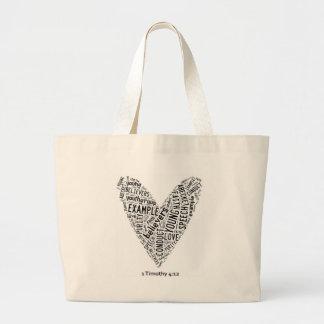 Holy Spirit Wear - Black text on white heart Canvas Bag
