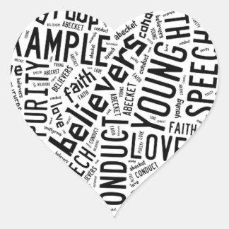Holy Spirit Wear - Black text on white heart Heart Sticker