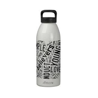 Holy Spirit Wear - Black text on white heart Reusable Water Bottle