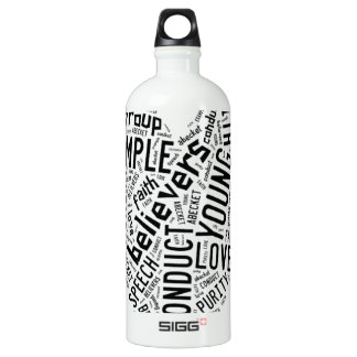 Holy Spirit Wear - Black text on white heart Water Bottle