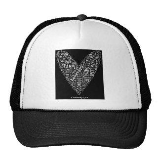 Holy Spirit Wear Gp) Black heart/white text Trucker Hat