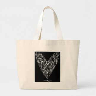 Holy Spirit Wear (Youth Gp) Black heart/white text Tote Bags