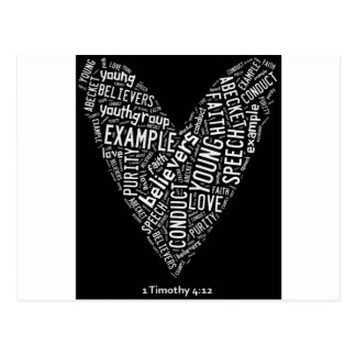 Holy Spirit Wear (Youth Gp) Black heart/white text Postcard