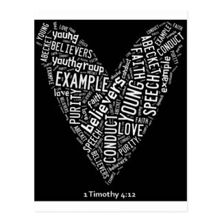 Holy Spirit Wear (Youth Gp) Black heart/white text Post Cards
