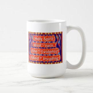Holy Spirit ~ Wind, Fire, Filled (wide) Mugs