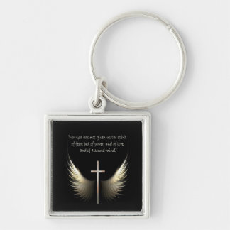 Holy Spirit Wings with Cross and Scripture Silver-Colored Square Keychain