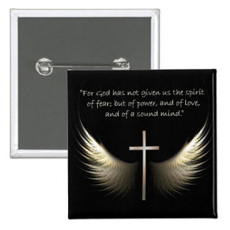 Holy Spirit Wings with Cross and Scripture Verse 2 Inch Square Button