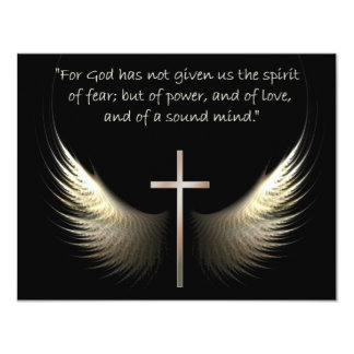 Holy Spirit Wings with Cross and Scripture Verse 4.25x5.5 Paper Invitation Card
