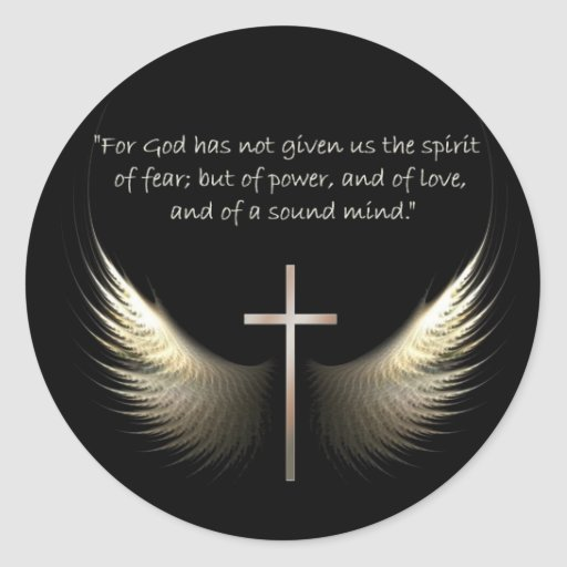 Holy Spirit Wings with Cross and Scripture Verse Classic Round Sticker