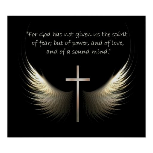 Holy Spirit Wings with Cross and Scripture Verse Poster | Zazzle